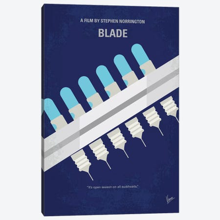 Blade Minimal Movie Poster Canvas Print #CKG799} by Chungkong Canvas Art Print
