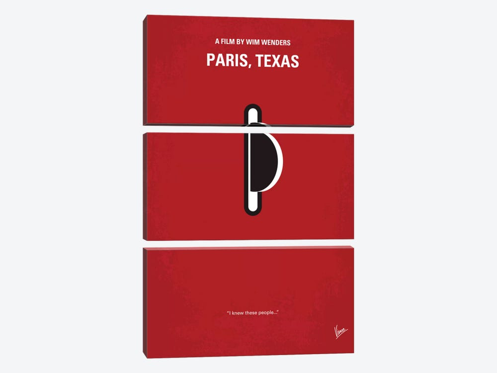 Paris, Texas Minimal Movie Poster by Chungkong 3-piece Canvas Print