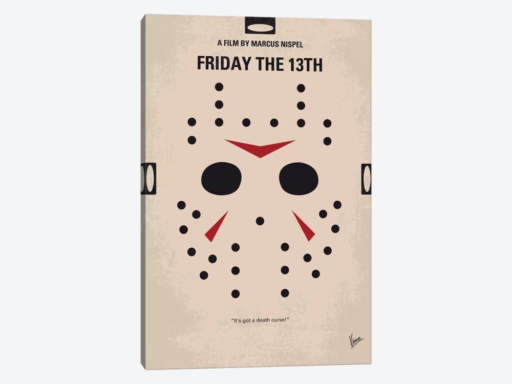 Friday The 13th Minimal Movie Poster by Chungkong 1-piece Canvas Wall Art
