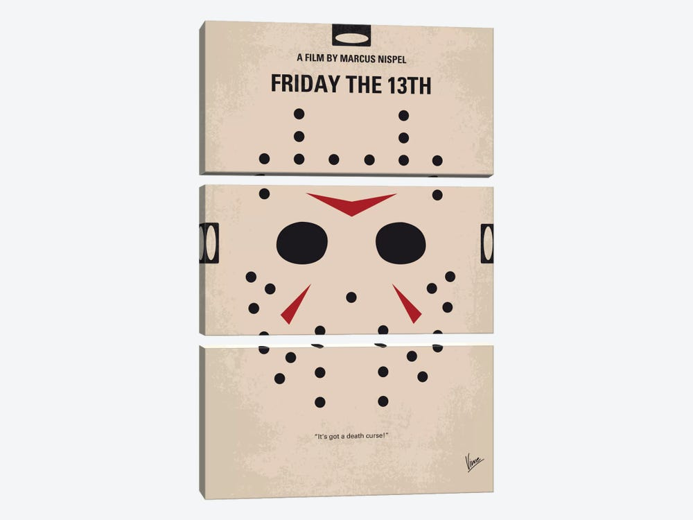 Friday The 13th Minimal Movie Poster by Chungkong 3-piece Canvas Wall Art