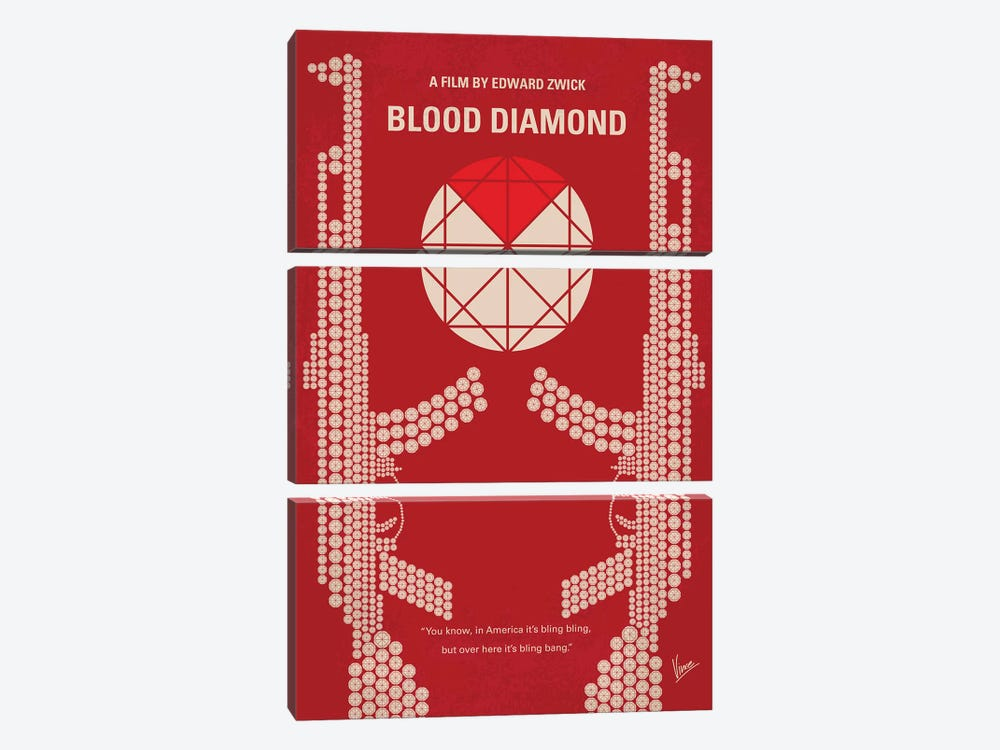 Blood Diamond Minimal Movie Poster by Chungkong 3-piece Canvas Art Print