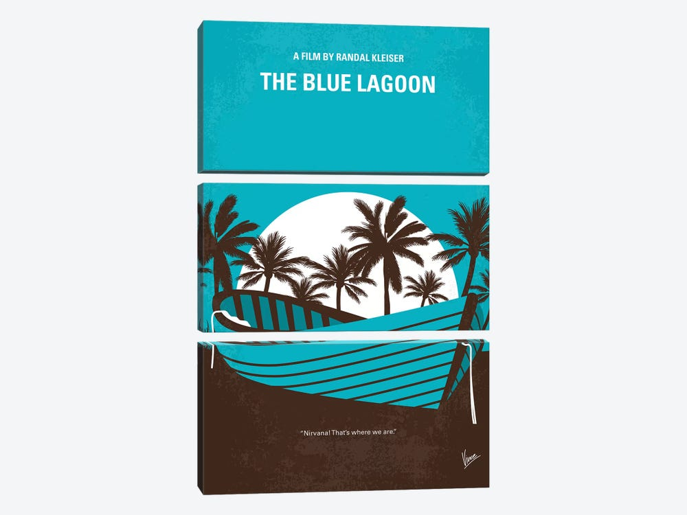 Blue Lagoon Minimal Movie Poster 3-piece Canvas Wall Art