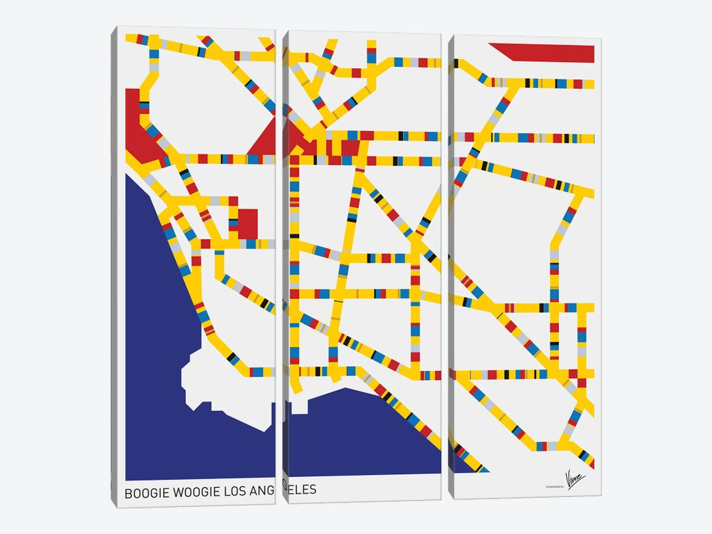 Boogie Woogie Los Angeles 3-piece Canvas Art Print