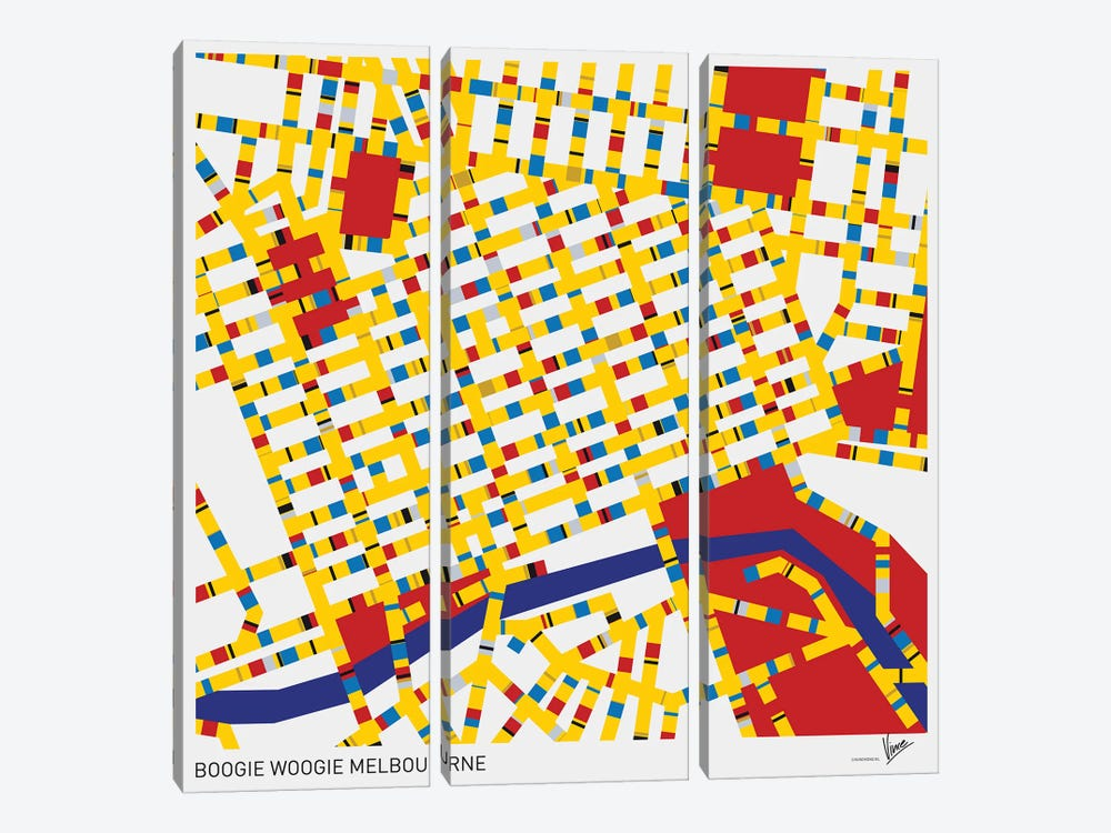 Boogie Woogie Melbourne by Chungkong 3-piece Canvas Artwork