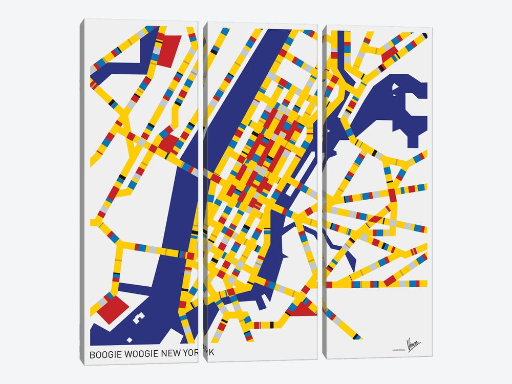 Boogie Woogie New York by Chungkong 3-piece Canvas Wall Art