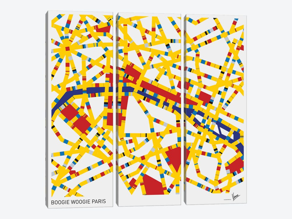 Boogie Woogie Paris by Chungkong 3-piece Canvas Art Print