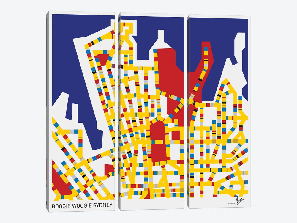 Boogie Woogie Sydney by Chungkong 3-piece Canvas Wall Art