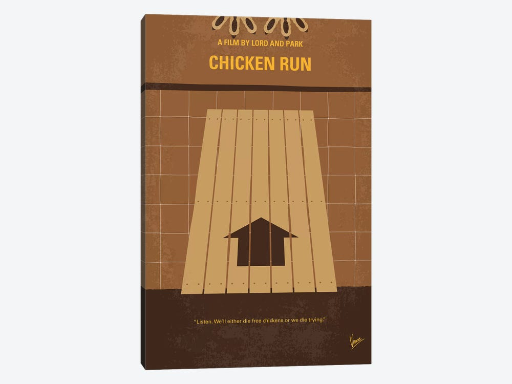 Chicken Run Minimal Movie Poster by Chungkong 1-piece Canvas Wall Art