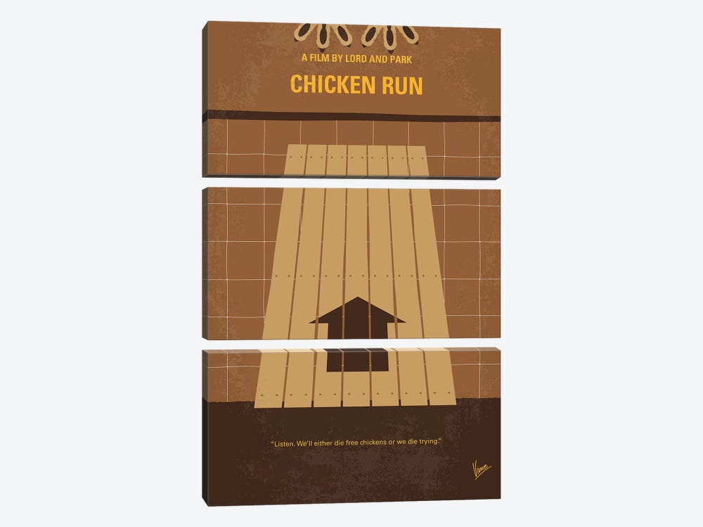 Chicken Run Minimal Movie Poster by Chungkong 3-piece Canvas Wall Art