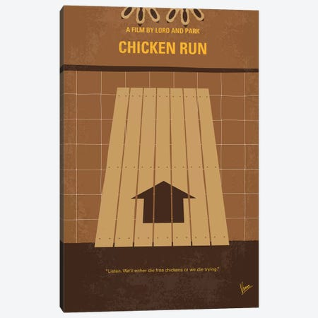 Chicken Run Minimal Movie Poster Canvas Print #CKG817} by Chungkong Canvas Art Print