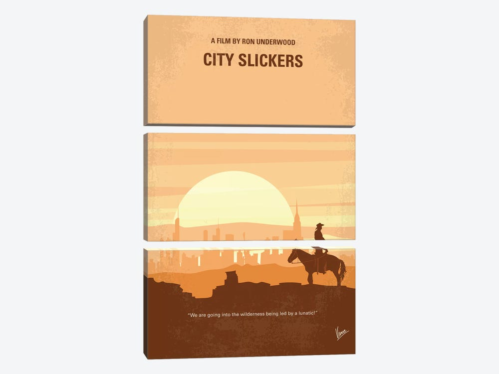 City Slickers Minimal Movie Poster by Chungkong 3-piece Canvas Wall Art