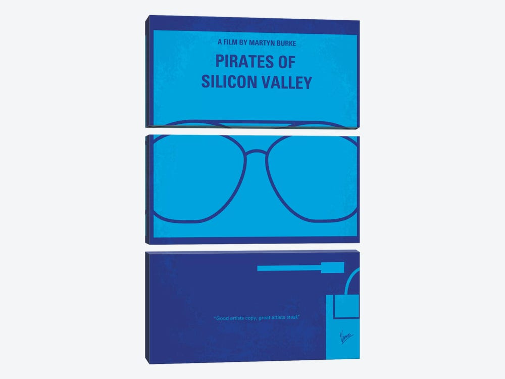 Pirates Of Silicon Valley Minimal Movie Poster by Chungkong 3-piece Canvas Wall Art