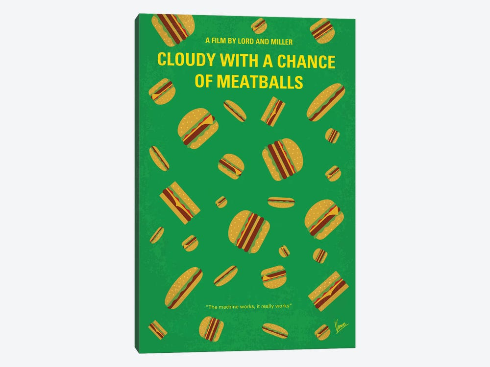 Cloudy With A Chance Of Meatballs Minimal Movie Poster by Chungkong 1-piece Canvas Artwork