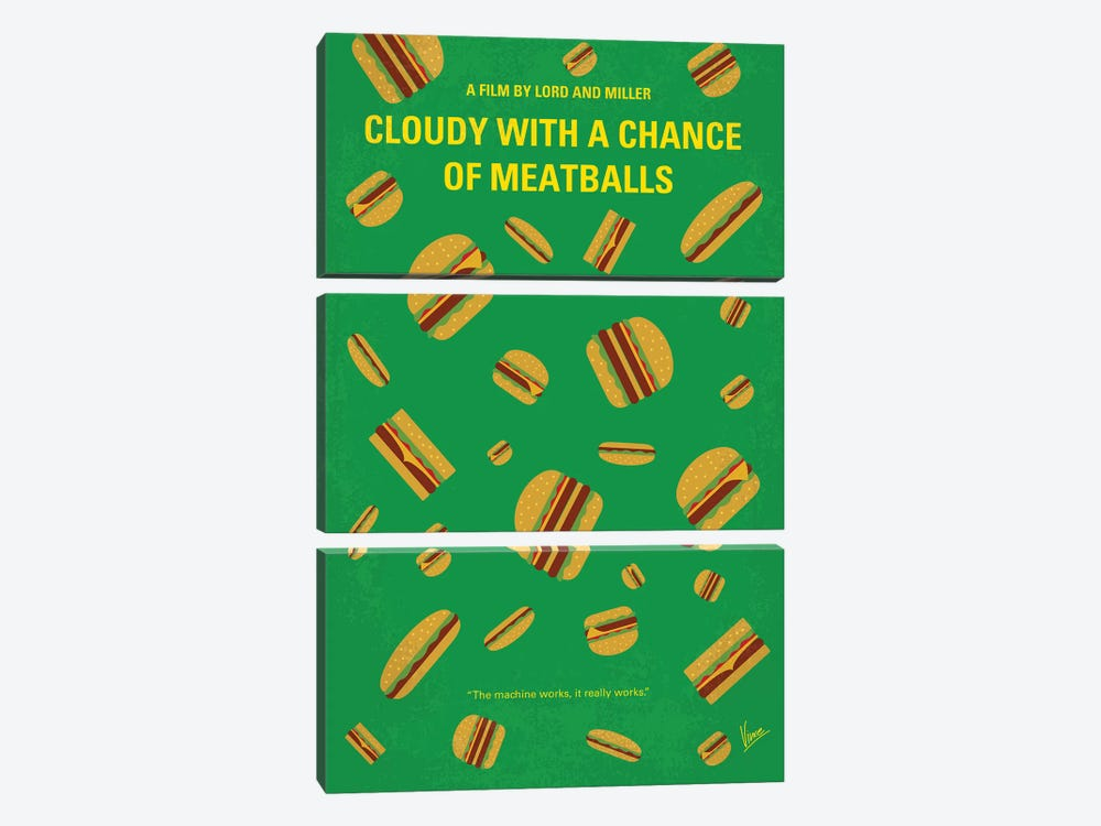 Cloudy With A Chance Of Meatballs Minimal Movie Poster by Chungkong 3-piece Canvas Artwork