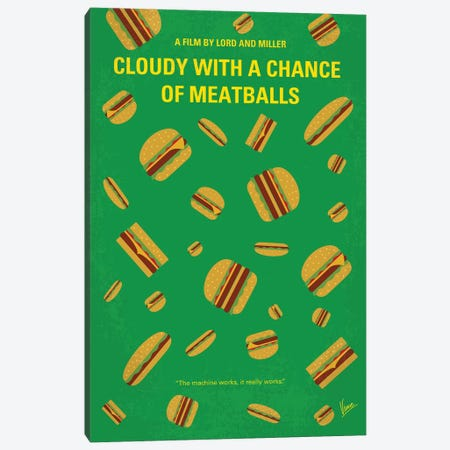 Cloudy With A Chance Of Meatballs Minimal Movie Poster 3-Piece Canvas #CKG820} by Chungkong Canvas Print