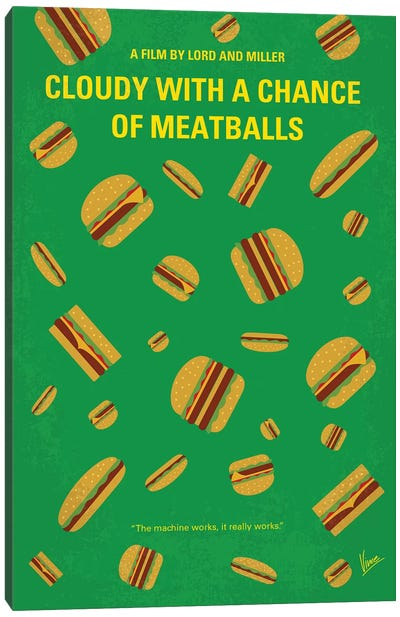 Cloudy With A Chance Of Meatballs Minimal Movie Poster Canvas Art Print
