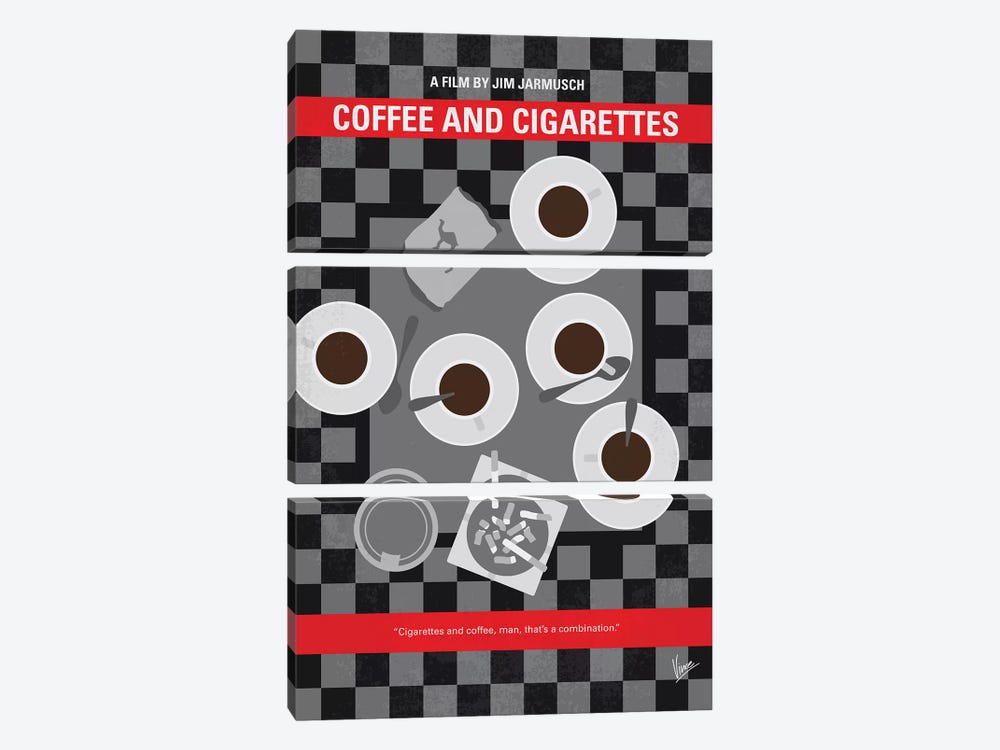 Coffee And Cigarettes Minimal Movie Poster by Chungkong 3-piece Canvas Print
