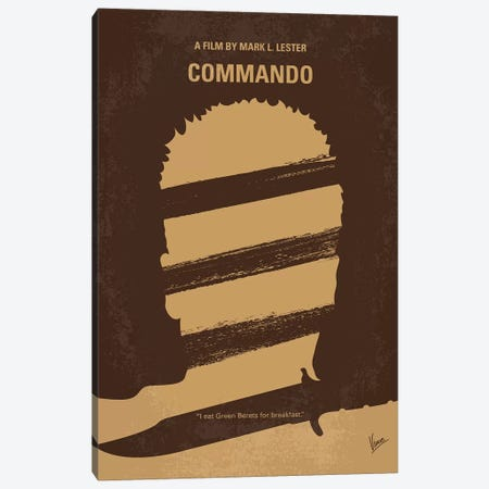 Commando Minimal Movie Poster Canvas Print #CKG822} by Chungkong Canvas Print