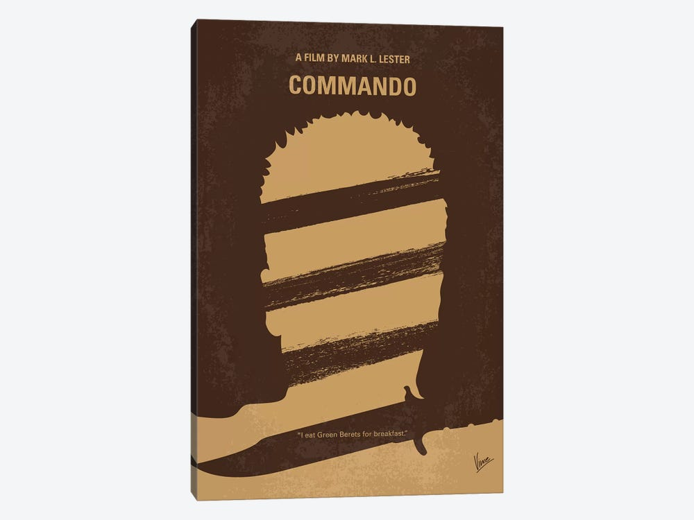 Commando Minimal Movie Poster 1-piece Canvas Wall Art