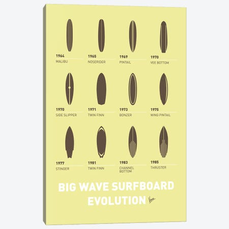 Evolution Surfboards Minimal Poster Canvas Print #CKG833} by Chungkong Canvas Wall Art
