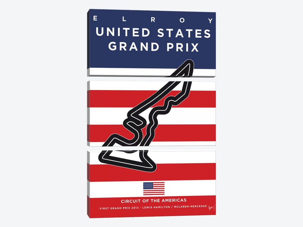 F1 America's Race Track Minimal Poster by Chungkong 3-piece Canvas Artwork