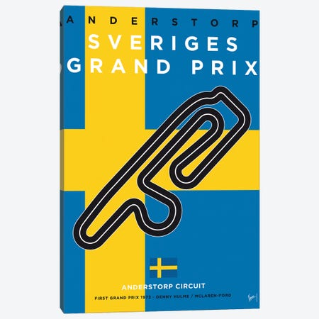 F1 Anderstorp Race Track Minimal Poster Canvas Print #CKG841} by Chungkong Canvas Print