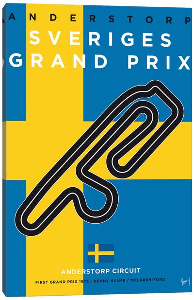 F1 Anderstorp Race Track Minimal Poster Canvas Art Print