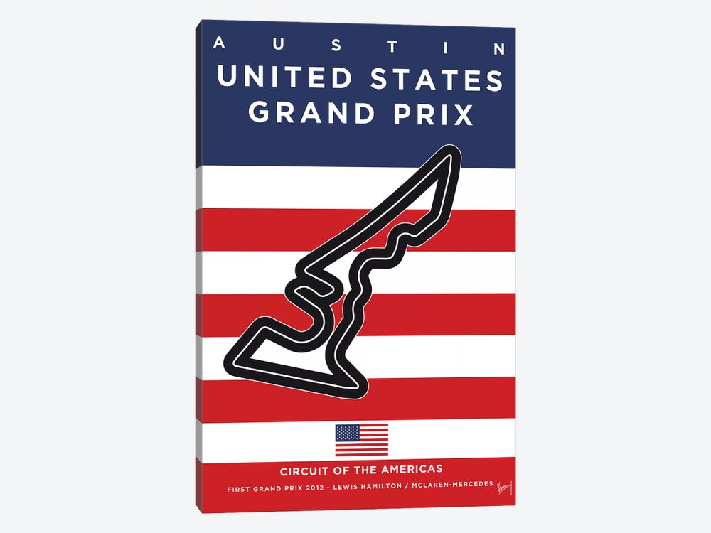F1 Austin Race Track Minimal Poster by Chungkong 1-piece Canvas Wall Art