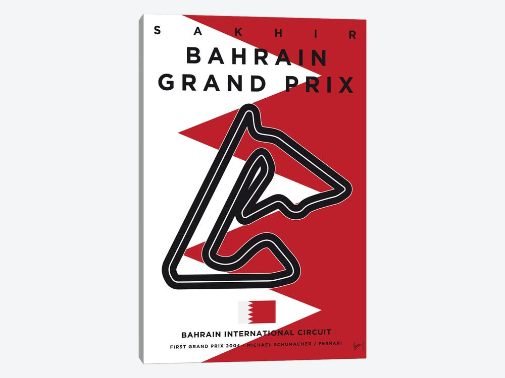 F1 Bahrain Race Track Minimal Poster by Chungkong 1-piece Art Print