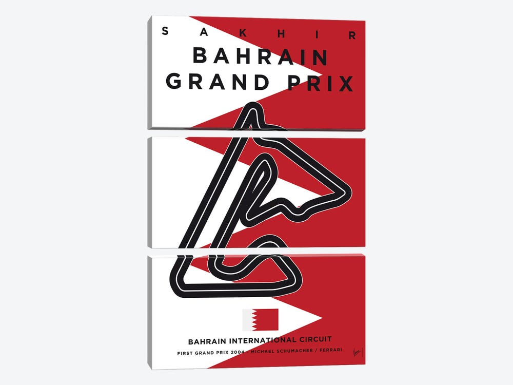 F1 Bahrain Race Track Minimal Poster by Chungkong 3-piece Canvas Art Print