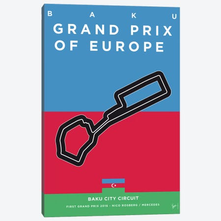 F1 Baku Race Track Minimal Poster Canvas Print #CKG844} by Chungkong Canvas Wall Art