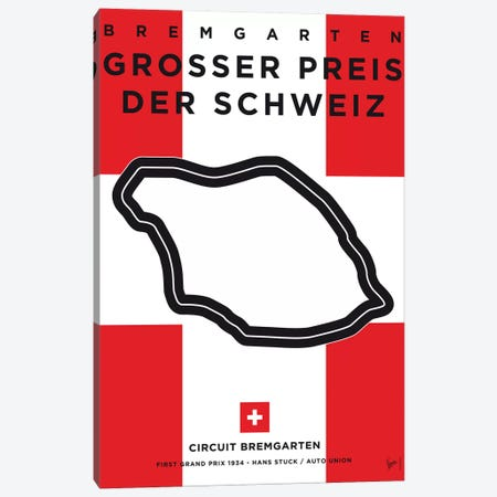 F1 Bremgarten Race Track Minimal Poster Canvas Print #CKG845} by Chungkong Canvas Art
