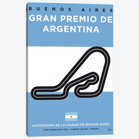 F1 Buenos Aires Race Track Minimal Poster Canvas Print #CKG846} by Chungkong Canvas Art