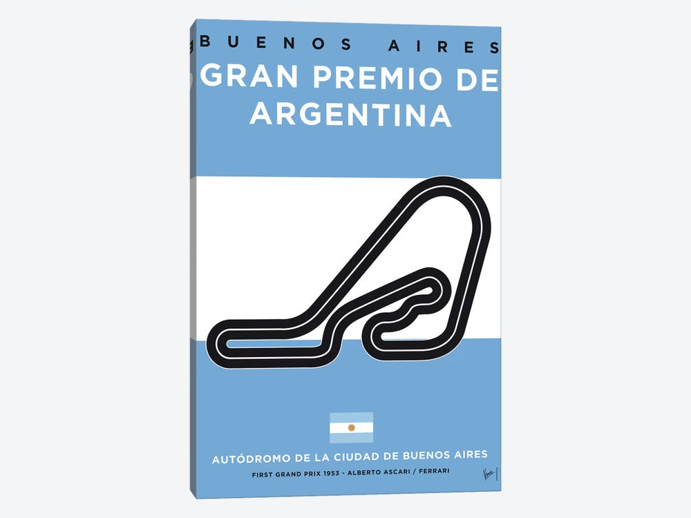 F1 Buenos Aires Race Track Minimal Poster by Chungkong 1-piece Canvas Wall Art