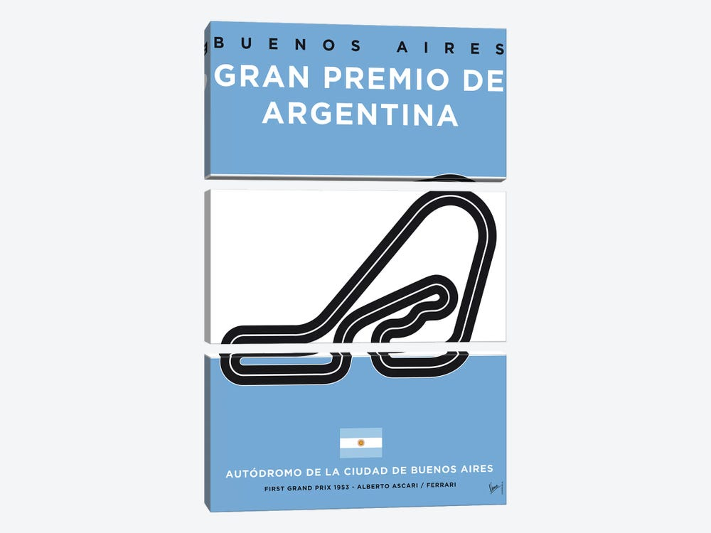 F1 Buenos Aires Race Track Minimal Poster by Chungkong 3-piece Canvas Wall Art