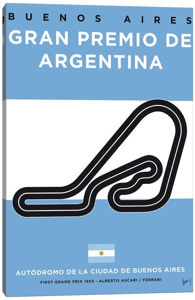 F1 Buenos Aires Race Track Minimal Poster Canvas Art Print