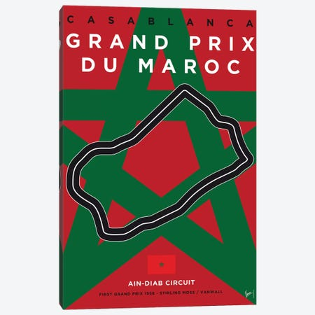 F1 Casablanca Race Track Minimal Poster Canvas Print #CKG847} by Chungkong Canvas Wall Art