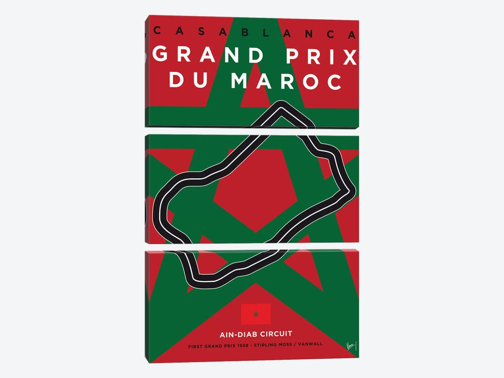 F1 Casablanca Race Track Minimal Poster by Chungkong 3-piece Canvas Print