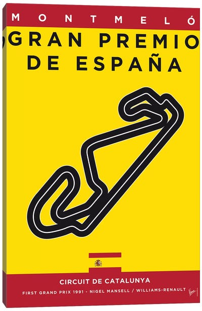 F1 Catalunya Race Track Minimal Poster Canvas Art Print