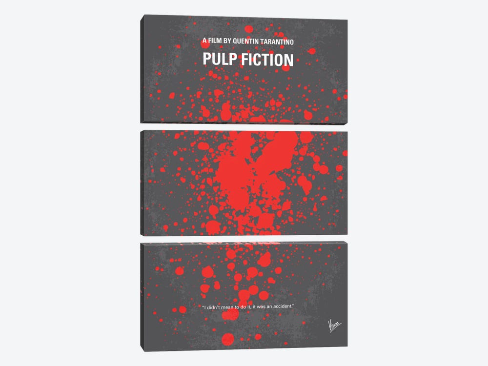 Pulp Fiction Minimal Movie Poster by Chungkong 3-piece Canvas Art Print