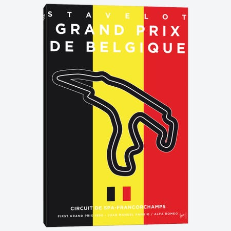 F1 Francorchamps Race Track Minimal Poster Canvas Print #CKG850} by Chungkong Canvas Artwork