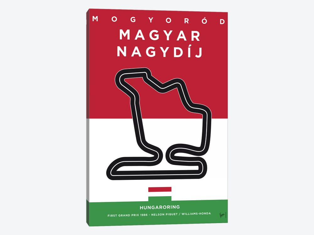 F1 Hungaroring Race Track Minimal Poster by Chungkong 1-piece Canvas Art Print