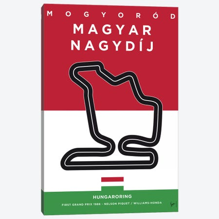 F1 Hungaroring Race Track Minimal Poster 3-Piece Canvas #CKG852} by Chungkong Canvas Wall Art