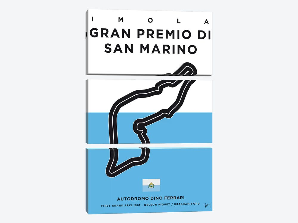 F1 Imola Track Minimal Poster by Chungkong 3-piece Canvas Wall Art