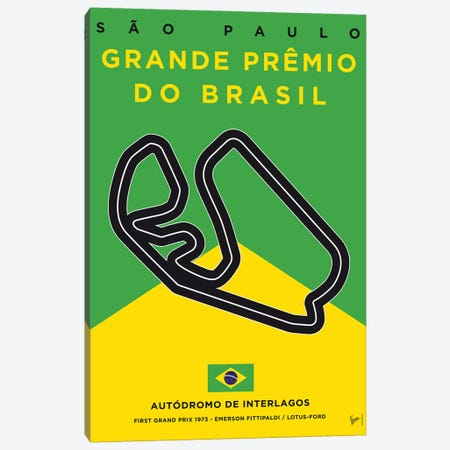 F1 Interlagos Track Minimal Poster Canvas Print #CKG854} by Chungkong Canvas Print