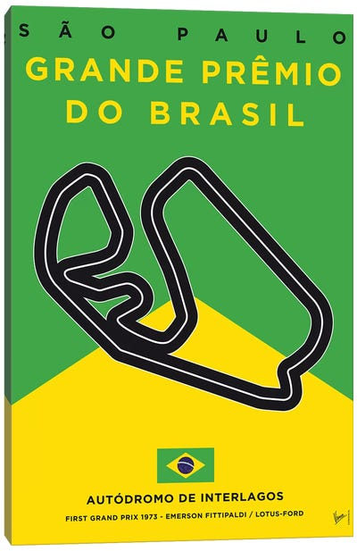 F1 Interlagos Track Minimal Poster Canvas Art Print