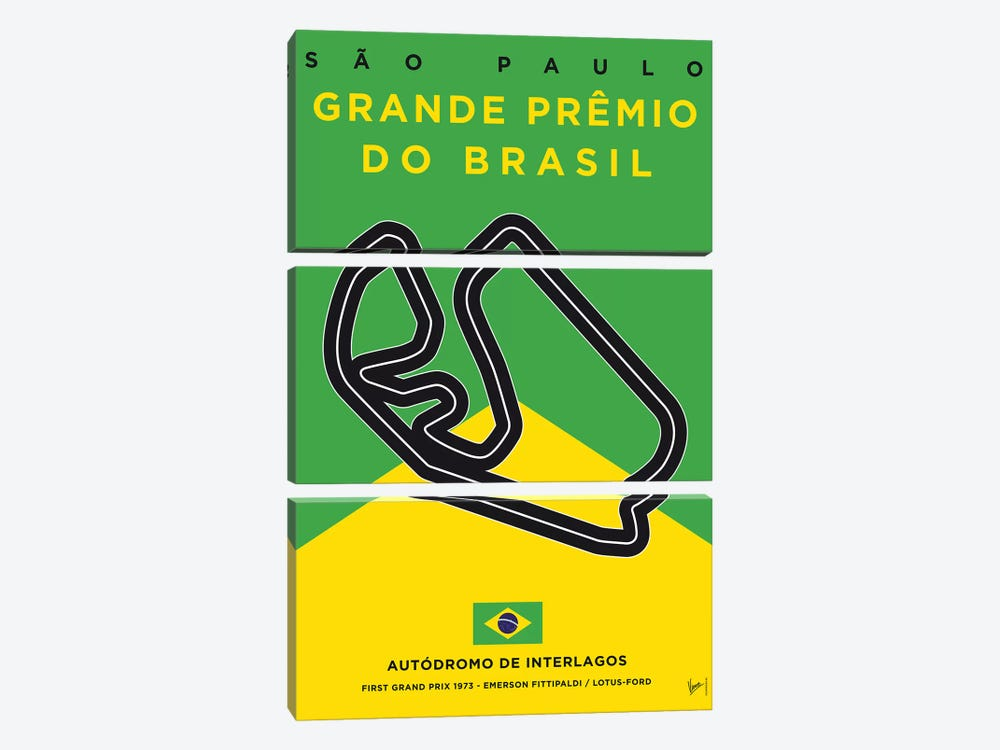 F1 Interlagos Track Minimal Poster by Chungkong 3-piece Canvas Print