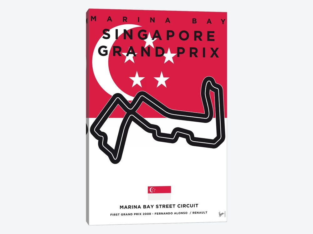 F1 Marina Bay Race Track Minimal Poster by Chungkong 1-piece Canvas Art