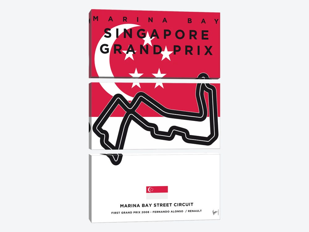F1 Marina Bay Race Track Minimal Poster by Chungkong 3-piece Canvas Artwork