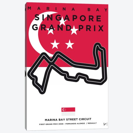F1 Marina Bay Race Track Minimal Poster 3-Piece Canvas #CKG855} by Chungkong Art Print
